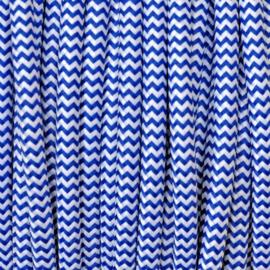 Snoer donkerblauw/wit zigzag