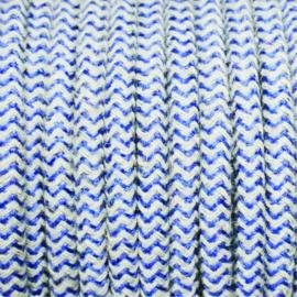 Snoer donkerblauw/linnen zigzag