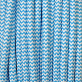 Snoer lichtblauw/wit zigzag