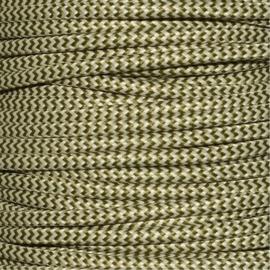Snoer legergroen/ivoor zigzag