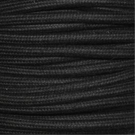 Snoer geaard katoen zwart
