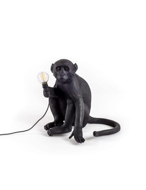 Seletti - Monkey lamp zittend zwart