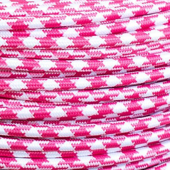 Snoer roze/wit pied-de-poule