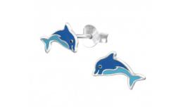 Zilveren kinderoorbellen dolfijn blauw