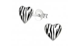 Zilveren kinderoorbellen zebra hart