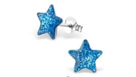 Zilveren kinderoorbellen glitter ster blauw