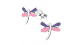 Zilveren kinderoorbellen libelle paars-roze