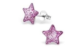 Zilveren kinderoorbellen glitter ster paars