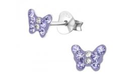 Zilveren kinderoorbellen vlinder paars
