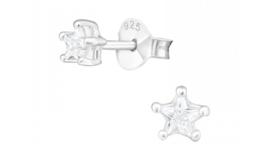 Zilveren kinderoorbellen ster crystal