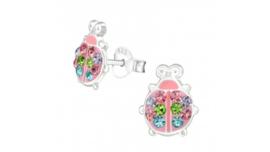 Zilveren kinderoorbellen lieveheersbeestje multicolor