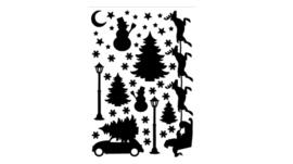 Statische raamstickers kerst zwart