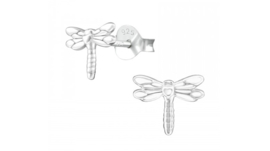 Zilveren kinderoorbellen libelle zilver