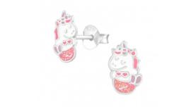 Zilveren kinderoorbellen mermicorn