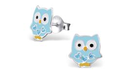 Zilveren kinderoorbellen uil blauw