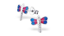 Zilveren kinderoorbellen libelle roze-blauw