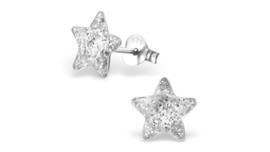 Zilveren kinderoorbellen glitter ster wit