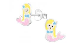 Zilveren kinderoorbellen zeemeermin blond roze
