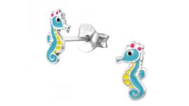 Zilveren kinderoorbellen zeepaardje blauw