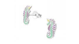 Zilveren kinderoorbellen eenhoorn zeepaard