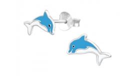 Zilveren kinderoorbellen dolfijn