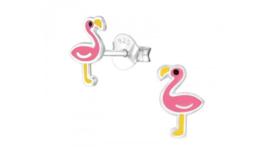 Zilveren kinderoorbellen flamingo roze-oranje