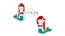 Zilveren kinderoorbellen zeemeermin rood groen