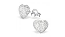 Zilveren kinderoorbellen glitter hart wit