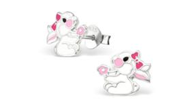 Zilveren kinderoorbellen konijn met strik