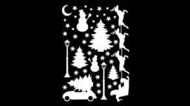 Statische raamstickers kerst wit