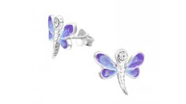 Zilveren kinderoorbellen libelle paars