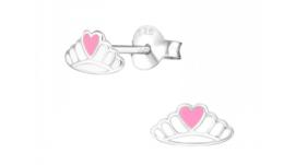 Zilveren kinderoorbellen kroontje met hart