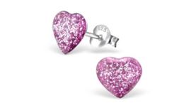 Zilveren kinderoorbellen glitter hart paars