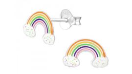 Zilveren kinderoorbellen regenboog met wolkjes