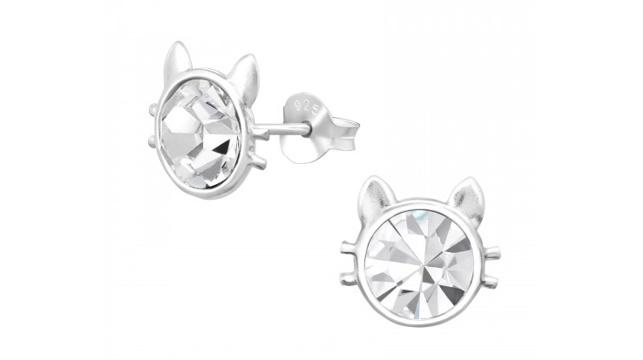 Zilveren kinderoorbellen katjes