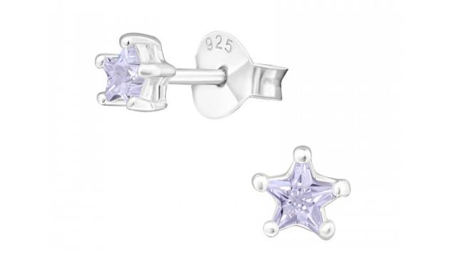 Zilveren kinderoorbellen ster paars