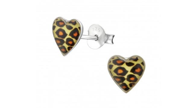 Zilveren kinderoorbellen panter hart