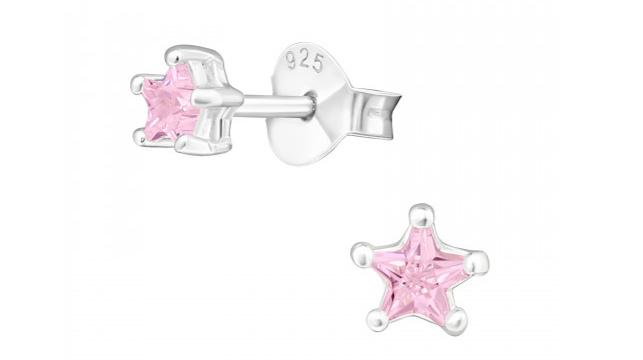 Zilveren kinderoorbellen ster roze