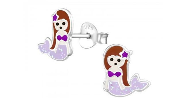 Zilveren kinderoorbellen zeemeermin bruin paars
