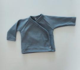 Overslag shirt rib blauw