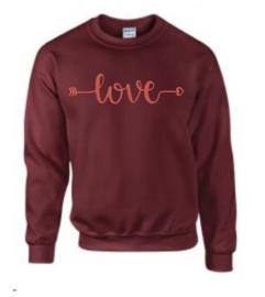 geborduurde sweater love maroon