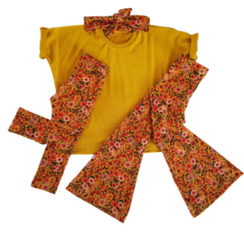flaired pants flower geel