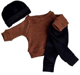 Oversized trui big knit bruin/zwart