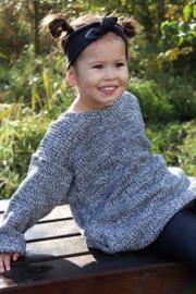 Oversized trui big knit zwart/grijs
