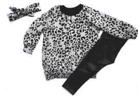 sweaterdress grijs leopard
