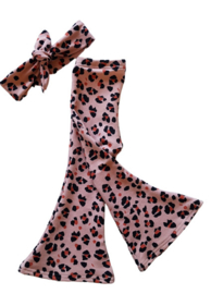 flaired pants leopard rose