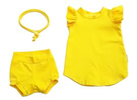 Ruffle jurkje geel