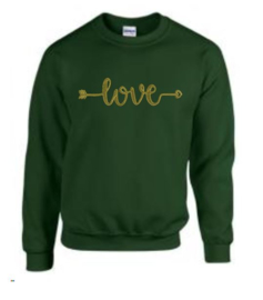 geborduurde sweater love green