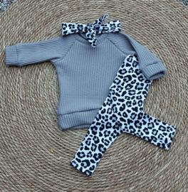 Setje big knit grijs leopard