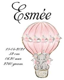 Geboorte olifant luchtballon rose